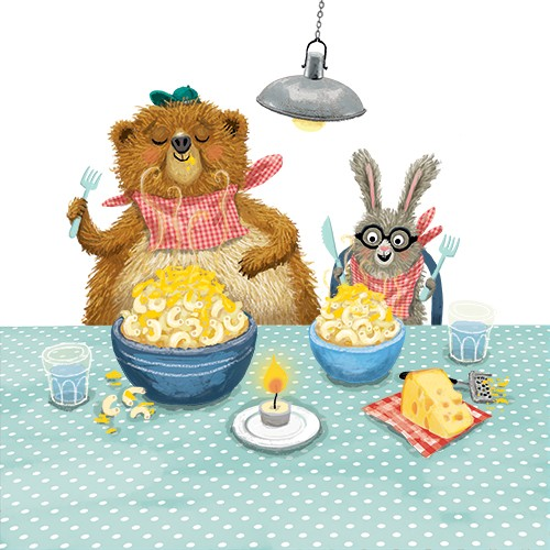 Eefje Kuijl Illustration - eefje, kuijl, eefji kuijl, commercial, educational, fiction, mass market, illustration, young reader, YA, digital, colour, colourful, photoshop, animals, bear, hare, rabbit, friends, we go together, dinner, table, eating, food, pasta, mac and cheese, chee