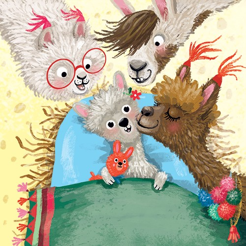 Eefje Kuijl Illustration - eefje, kuijl, eefji kuijl, commercial, educational, fiction, mass market, illustration, young reader, YA, digital, colourful, photoshop, animals, llamas, bedtime, family, bed, night, kiss, teddy, toy, happy, sweet, cute