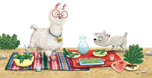 Eefje Kuijl Illustration - eefje, kuijl, eefji kuijl, commercial, educational, fiction, mass market, illustration, young reader, YA, digital, colourful, photoshop, animals, llamas, picnic, water, leaves, blanket, bib, bushes, glasses, bell, happy, anxious, feelings, water, outside,