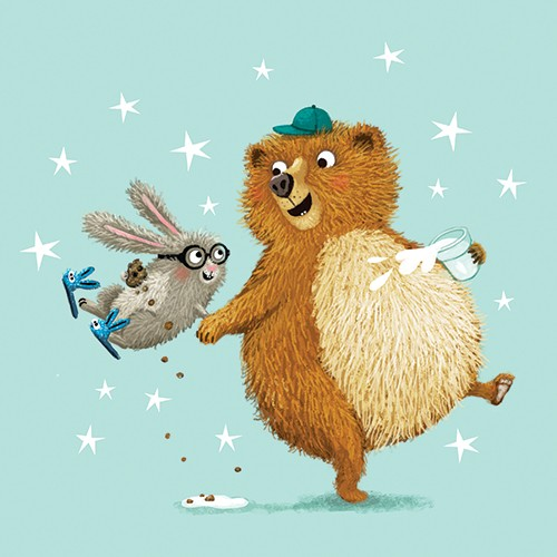 Eefje Kuijl Illustration - eefje, kuijl, eefji kuijl, commercial, educational, fiction, mass market, illustration, young reader, YA, digital, colourful, photoshop, animals, bear, hare, rabbit, friends, we go together, holding hands, smile, happy, cute, sweet, stars, milk, cookies
