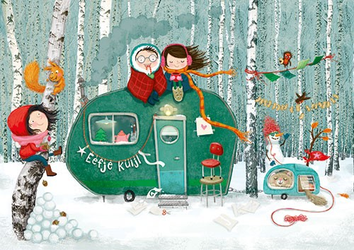 Eefje Kuijl Illustration - eefje, kuijl, eefji kuijl, commercial, educational, fiction, mass market, greetings cards, young reader, YA, digital, colour, winter, colourful, photoshop, young, cute, sweet, caravan, girl, boy, woods, winter, cold, trees, blanket, squirrel, cat, scarf,