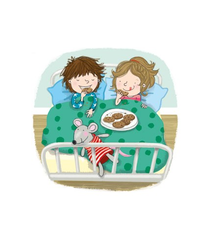 Eefje Kuijl Illustration - eefje, kuijl, eefji kuigl, commercial, educational, fiction, mass market, greetings cards, young reader, YA, digital, colour, colourful, photoshop, young, cute, sweet, child, children, boy, girl, bed, teddy, mouse, food, biscuits, pattern, cushion
