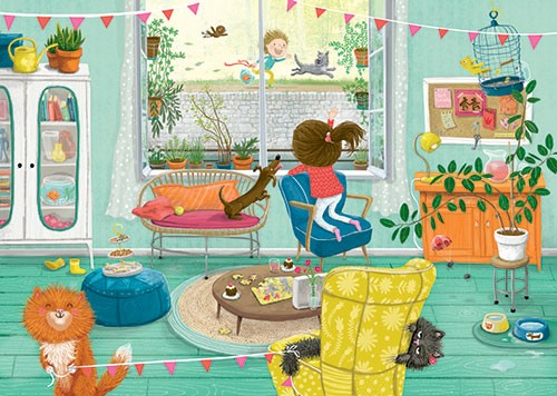 Eefje Kuijl Illustration - eefje, kuijl, eefji kuijl, commercial, educational, fiction, mass market, greetings cards, young reader, YA, digital, colour, winter, colourful, photoshop, young, cute, sweet, child, house, home, mess, window, cat, dog, bunting, books, sofa, table, plants