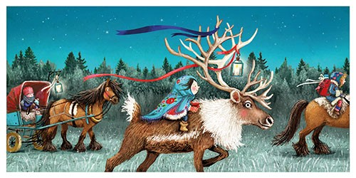 Eefje Kuijl Illustration - eefje, kuijl, eefji kuijl, commercial, educational, fiction, mass market, greetings cards, young reader, YA, digital, colour, winter, colourful, photoshop, young, cute, sweet, child, christmas, festive, girl, reindeer, antlers, laters, ribbon, light, pres