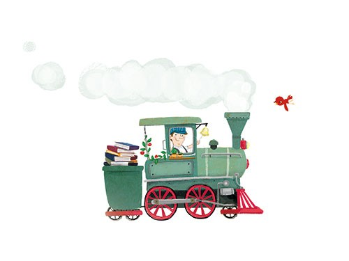 Eefje Kuijl Illustration - eefje, kuijl, eefji kuijl, commercial, educational, fiction, mass market, young reader, YA, digital, colour, mixed media, train, tram, transport, carriage, travel, bird, steam, steam train, conductor, man, person