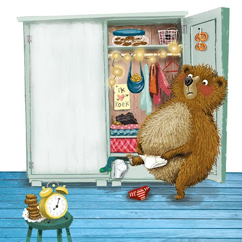 Eefje Kuijl Illustration - eefje, kuijl, eefji kuijl, commercial, educational, picture book, mass market, greetings cards, young reader, YA, digital, photoshop, illustrator, colour, bear, wardrobe, bedroom, cookies, clothes, pants, clock, biscuits, lights, food