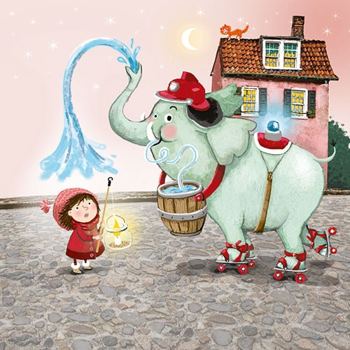 Eefje Kuijl Illustration - efje, kuijl, eefji kuijl, commercial, educational, fiction, mass market, digital, YA, young reader, animal, elephant, girl, child, person, cat, house, fire engine, comical, humour, colour, colourful