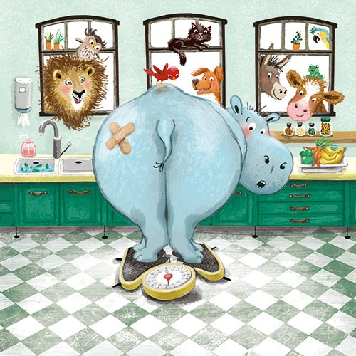 Eefje Kuijl Illustration - efje, kuijl, eefji kuijl, commercial, educational, fiction, mass market, colour, colourful, young readers, YA, animals, hippo, hippopotamus, lion, cow, donkey, owl, cat, dog, bird, parrot, kitchen, digital, humour
