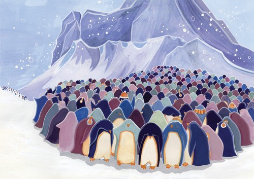 Emma Randall Illustration - emma, randall, emma randall, commercial, trade, editorial, cute, sweet, young, fiction, picture book, greetings cards, paint, painting, digital, photoshop, illustrator, penguins, winter, snowing, snow flakes, mountains, cold, chilly, friends, group, anima