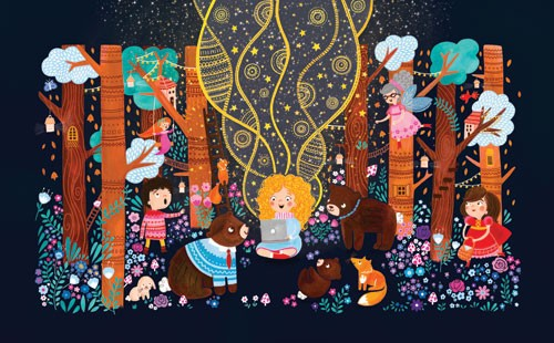 Emma Randall Illustration - emma, randall, emma randall, commercial, trade, editorial, sweet, young, fiction, picture book, greetings cards, paint, painting, digital, photoshop, illustrator, decorative, girl, laptop, animals, magical, ethereal, bears, fairies, foxes, stories, trees,