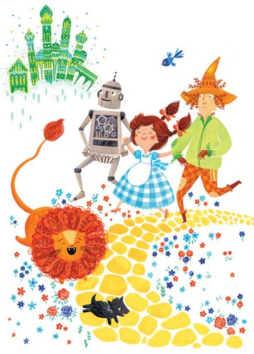 Emma Randall Illustration - emma, randall, emma randall, commercial, trade, editorial, sweet, young, fiction, picture book, greetings cards, paint, painting, digital, photoshop, illustrator, dorothy, emerald city, tin man, lion, magical, wizard of oz, characters
