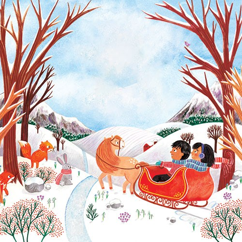 Emma Randall Illustration - emma, randall, emma randall, commercial, trade, sweet, young, picture book,  paint, painting, digital, photoshop, illustrator, cute, christmas, seasonal, fiction, girl, boy, sleigh, snow, winter, horse, nature, trees, animals, wild, squirrels, rabbits,