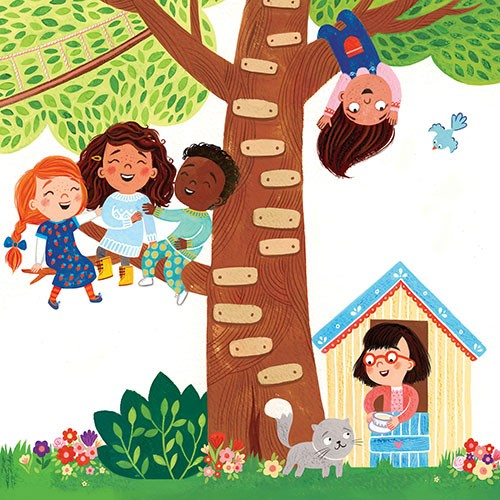 Emma Randall Illustration - emma, randall, emma randall, commercial, trade, sweet, young, picture book, paint, painting, digital, photoshop, illustrator, fiction, girls, boys, friends, characters, tree, treehouse, laughing, cat, pet, swinging, playing, cute, sweet