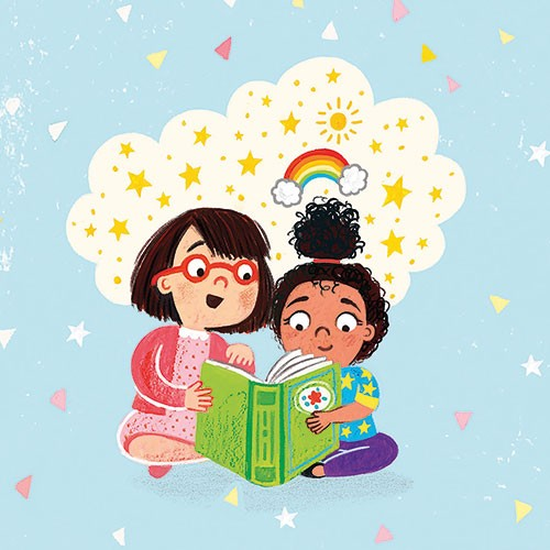 Emma Randall Illustration - emma, randall, emma randall, commercial, trade, sweet, young, picture book, paint, painting, digital, photoshop, illustrator, fiction, girls, characters, people reading, book, magical, rainbow, stars, sun, pages, shapes, cute, sweet,
