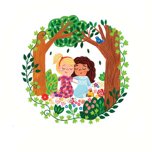 Emma Randall Illustration - emma, randall, emma randall, commercial, trade, sweet, young, picture book, paint, painting, digital, photoshop, illustrator, fiction, girls, friends, love, hug, nature, trees, outdoors, sweet, cute, flowers, seasonal, summer, best friends