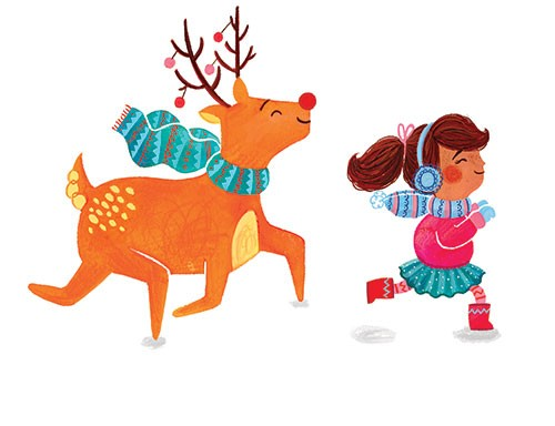 Emma Randall Illustration - emma, randall, emma randall, commercial, trade, editorial, girly, cute, sweet, young, fiction, picture book, greetings cards, paint, painting, digital, photoshop, illustrator, animals, reindeer, children, girls, christmas, winter