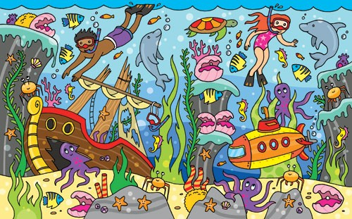 Emily  Golden  Illustration - emily, golden, emily golden, digital,colourful, colour, commercial, novelty, water, under water, people, person, figures, children, child, boy, girl, fish, dolphin, octopus, crab, starfish, submarine, ship, bubbles, colourful, colour