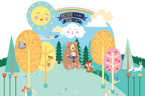 Emily Golden Illustration - emily, golden, emily golden, digital,colourful, colour, commercial, novelty, picture book, picturebook, animals, forest, woods, bear, person, boy, birds, rabbits, bunnies, fox, trees, sunshine, clouds, sky, hills, flowers, grass, text, type, rainbow