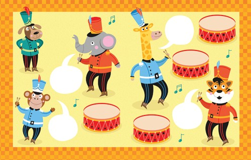 Emily  Golden  Illustration - emily, golden, emily golden, digital,colourful, colour, commercial, novelty, picture book, picturebook, animals, elephant, tiger, monkey, giraffe, monkey, dog, band, instruments, notes, pattern