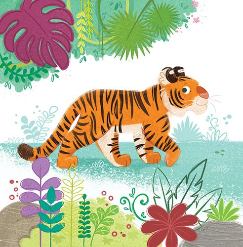 Eva Maria Gey Illustration - eva maria gey, illustration, commercial, educational, mass market, digital, YA, young reader, colour, colourful, digital, photoshop, bright, cute, sweet, animals, tiger, wild, jungle, nature, grass, plants, exotic, trees, flowers, rocks, natural, habitat