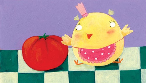 Francesca Assirelli Illustration - francesca, assirelli, francesca assirelli, acrylic, acrylic paint, paint, painted, commercial, trade, picturebook, picture book, animal, cute, sweet, chick, tomato, vegetable, apron, hat