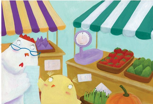 Francesca Assirelli Illustration - francesca, assirelli, francesca assirelli, acrylic, acrylic paint, paint, painted, commercial, trade, picturebook, picture book, animal, cute, sweet, chick, vegetables, tomatoes, chicken, pumpkin, market, scales
