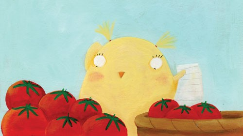 Francesca Assirelli Illustration - francesca, assirelli, francesca assirelli, acrylic, acrylic paint, paint, painted, commercial, trade, picturebook, picture book, animal, cute, sweet, chick, vegetables, tomatoes, shopping, list, shopping list