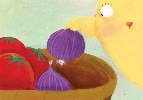 Francesca Assirelli Illustration - francesca, assirelli, francesca assirelli, acrylic, acrylic paint, paint, painted, commercial, trade, picturebook, picture book, animal, cute, sweet, chick, vegetables, tomatoes, onions