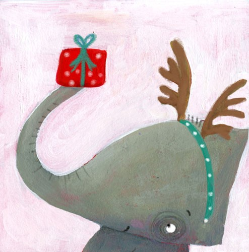 Francesca Assirelli Illustration - francesca, assirelli, francesca assirelli, acrylic, acrylic paint, paint, painted, commercial, trade, picturebook, picture book, animal, cute, sweet, elephant, christmas, antlers, present
