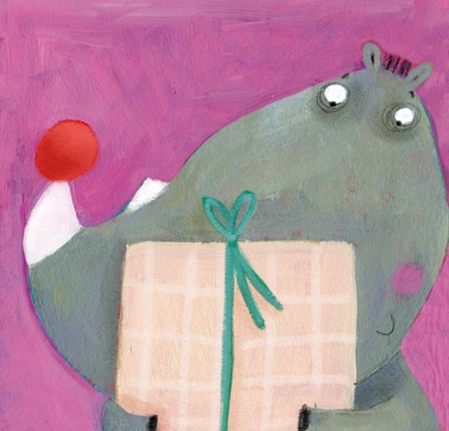 Francesca Assirelli Illustration - francesca, assirelli, francesca assirelli, acrylic, acrylic paint, paint, painted, commercial, trade, picturebook, picture book, animal, cute, sweet, rhino, present, ball ball, christmas