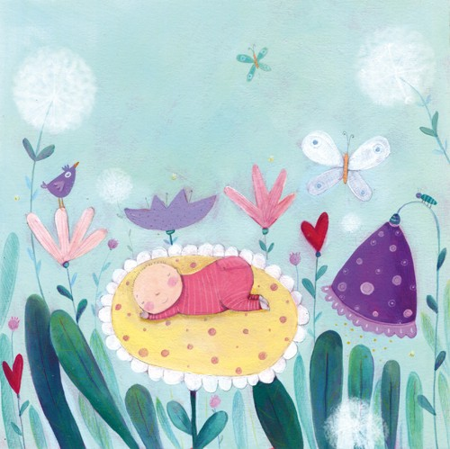 Francesca Assirelli Illustration - francesca, assirelli, francesca assirelli, acrylic, acrylic paint, paint, painted, bird, commercial, trade, picturebook, picture book, baby, child, sleeping, flowers, butterflies, insects, hearts, pattern ,, cute, sweet,