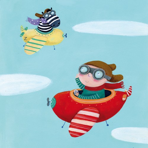 Francesca Assirelli Illustration - francesca, assirelli, francesca assirelli, acrylic, acrylic paint, paint, painted, commercial, trade, picturebook, picture book, animal, cute, sweet, person, figure, figurative, child, boy, zebra, friendship, planes, airplane, sky, clouds
