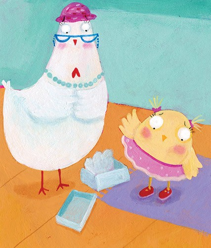 Francesca Assirelli Illustration - francesca, assirelli, francesca assirelli, acrylic, acrylic paint, paint, painted, commercial, trade, picturebook, picture book, animal, chicken, chick, family, shopping, shoes, box, skirt, red, red shoes, glasses, necklace