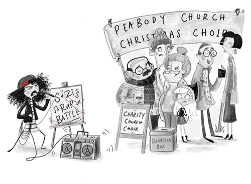 Fay Austin Illustration - fay austin, illustrator, pen, pencil, photoshop, digital, texture, YA, middle grade, fiction, young readers, black and white, b & w, characters, girl, child, people, crowd, men, women, christmas, festive, singing, sing, choir, rap, battle, microphone, hat