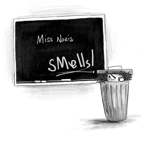 Fay Austin Illustration - fay austin, illustrator, pen, pencil, photoshop, digital, texture, YA, middle grade, fiction, young readers, black and white, b & w, character, girl, naughty, rebel, blackboard, chalk, message, rude, school, bin, rubbish, hiding, sneaky, bad,