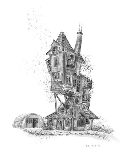 Fay Austin Illustration - fay austin, illustrator, pen, pencil, photoshop, digital, texture, YA, middle grade, fiction, young readers, black and white, b & w, object, house, home, building, tall, makeshift, craft, exciting, adventure, the burrow, harry potter, magical, garage, fie