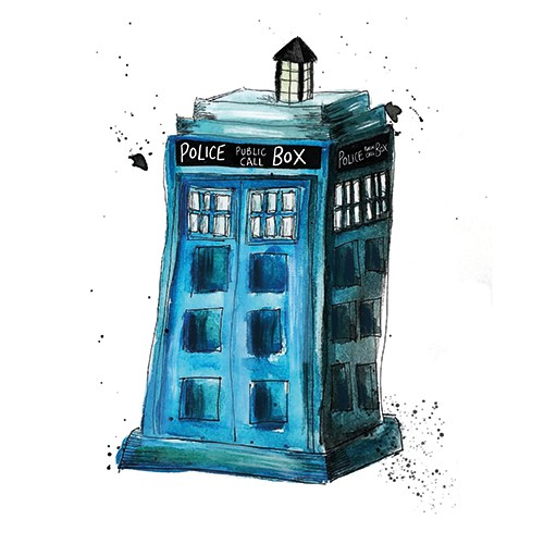 Fay Austin Illustration - fay austin, illustrator, pen, pencil, photoshop, digital, texture, YA, middle grade, fiction, young readers, colourful, colour, object, phone box, box, booth, blue box, tardis, doctor who, pop culture, television show, spaceship, time travel, exciting, ad