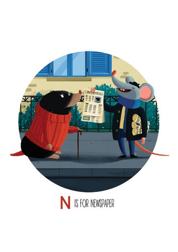 Giuseppe Di Lernia Illustration - giuseppe, di lernia, giuseppe di lernia, graphic, editorial, illustrator, photoshop, picturebook, YA, young reader, digital colour,colourful, animals, rat, mouse, mole, newspaper, paper, house, building, road, funny, humour