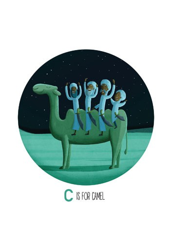 Giuseppe Di Lernia Illustration - giuseppe, di lernia, giuseppe di lernia, graphic, editorial, illustrator, photoshop, picturebook, YA, young reader, digital colour,colourful, camel, men, figures, figurative, desert, stars, night time, night, sand, animal, funny, humour
