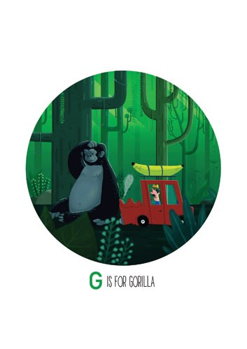 Giuseppe Di Lernia Illustration - giuseppe, di lernia, giuseppe di lernia, graphic, editorial, illustrator, photoshop, picturebook, YA, young reader, digital colour,colourful, gorilla, jungle, funny, humour, car, figure, figurative, man, car, banana, trees, leaves, animal