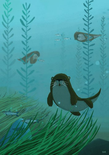 Giuseppe Di Lernia Illustration - giuseppe, di lernia, giuseppe di lernia, editorial, illustrator, photoshop, picturebook, YA, young reader, digital colour,colourful, animals, otter, fish, water, underwater, water, ocean, bubbles, leaves, grass, shark