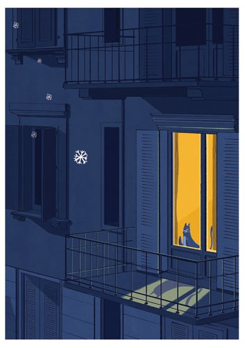 Giuseppe Di Lernia Illustration - giuseppe, di lernia, giuseppe di lernia, graphic, editorial, illustrator, photoshop, picturebook, YA, young reader, digital colour,colourful, cat, house, balcony, window, snow, snowflake, seasonal, animal, kitty