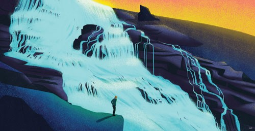Giuseppe Di Lernia Illustration - giuseppe, di lernia, giuseppe di lernia, graphic, editorial, illustrator, photoshop, picturebook, YA, young reader, digital colour,colourful, waterfall, man, figure, figurative, water, mountain