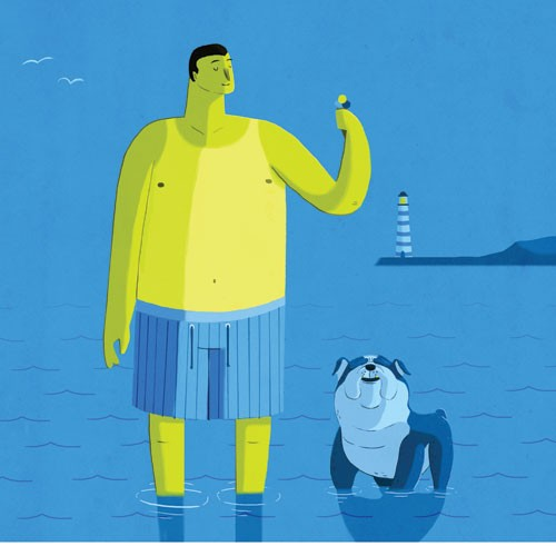 Giuseppe Di Lernia Illustration - giuseppe, di lernia, giuseppe di lernia, graphic, editorial, illustrator, photoshop, picturebook, YA, young reader, digital colour,colourful, man, dog, animal, pet, sea, seaside, lighthouse, birds
