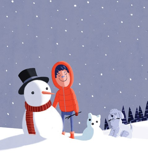 Giuseppe Di Lernia Illustration - giuseppe, di lernia, giuseppe di lernia, graphic, editorial, illustrator, photoshop, picturebook, YA, young reader, digital colour,colourful, person, figure, figurative, child, boy, dog, animal , pet, snow, snowman, seasonal, winter, stars, nighttime, nig