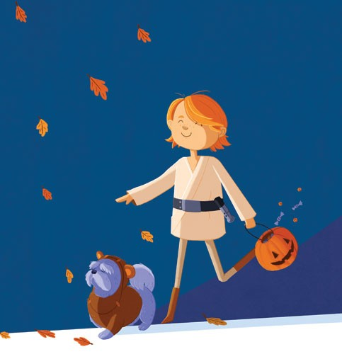 Giuseppe Di Lernia Illustration - giuseppe, di lernia, giuseppe di lernia, graphic, editorial, illustrator, photoshop, picturebook, YA, young reader, digital colour,colourful, boy, child, figure, figurative, person, dog, pet, animal, dress up, play time, play, leaves, halloween , seasonal