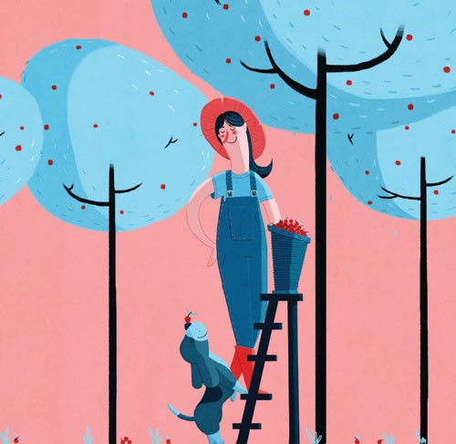 Giuseppe Di Lernia Illustration - giuseppe, di lernia, giuseppe di lernia, graphic, editorial, illustrator, photoshop, picturebook, YA, young reader, digital colour,colourful, animal, dog, pet, woman, figure, figurative, person, funny, humour, cute, sweet, trees, fruit, ladder, hat
