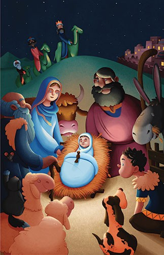 Giuseppe Di Lernia Illustration - giuseppe, di lernia, giuseppe di lernia, editorial, illustrator, photoshop, picturebook, YA, young reader, digital colour, colourful, nativity, christmas, xmas, christian, baby, family,