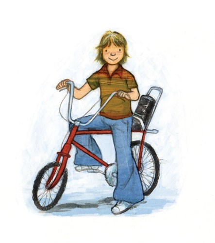 Gabby Grant Illustration - gabby grant, gabby, grant, traditional, digital, picture book, fiction, educational, graphic novel, commercial, painted, classic, people, person, boys, males, child, children, kids, teenagers, bikes, sports, bicycles, exercise, wheels, flares, 1970s, retr