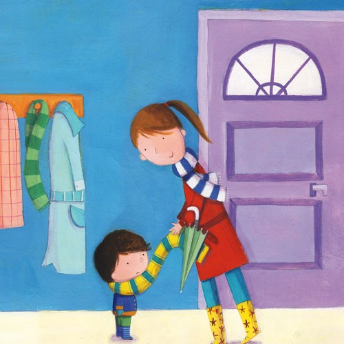 Judi Abbot Illustration - judi, abbot, judi abbot, acrylic, paint, painted, traditional, commercial, picture book, picturebook, colour, colourful, sweet, cute,boy, child, person, figure, mummy, scarf, house, umbrella